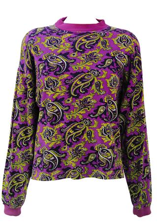 Paisley Print Purple, Black & Ochre Long Sleeved Top - M/L