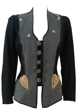 Black Jacket with Decorative Metallic Detailing - M/L