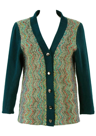 60's Teal Cardigan with Multicolour Zig Zag Pattern - M