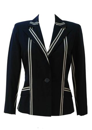 Navy Blue Blazer with Grey Stripe Design - S/M