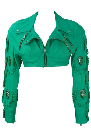 Calugi E Giannelli Cropped Leather Turquoise Jacket with Metallic Tribal Faces - S