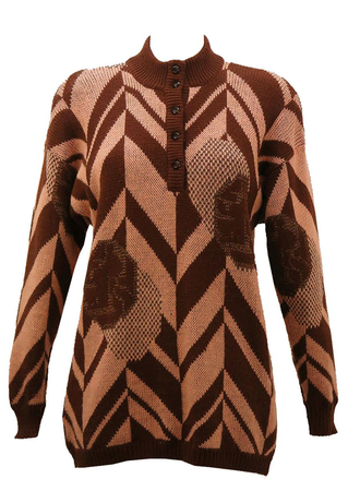 Brown & Pink Chevron Patterned Jumper with Button Up Collar  - M/L