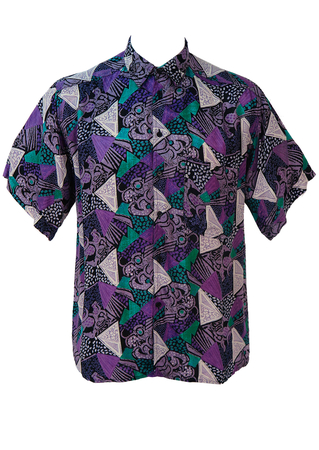 Vintage 1990's Purple & Green Graphic Print Shirt - M/L