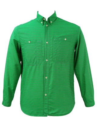 Emerald Green Shirt with Green & White Embroidered Stripes - S