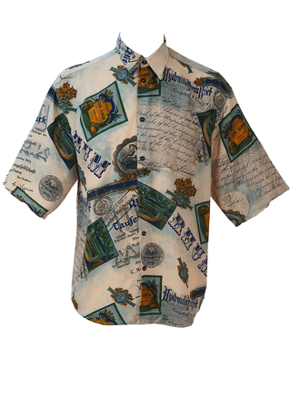 Short Sleeved Shirt with Pictorial Images and Text - L/XL