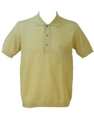 Vintage 1960's Italian Mesh Knit Cream Polo Shirt - L