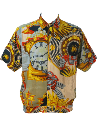 Short Sleeve Shirt with Multicoloured Zodiac Clock Pattern - L/XL