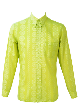 Vintage 1960's Lime Green/Yellow Shirt with White Pattern - S/M