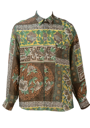 Vintage 1990's Brown, Yellow & Green Floral Shirt - L/XL