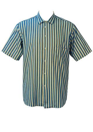 Blue, Yellow & Grey Striped Short Sleeve Shirt - XL