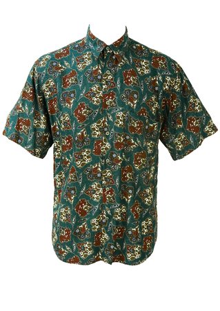 Blue Short Sleeve Shirt with an Abstract Floral Print - M/L