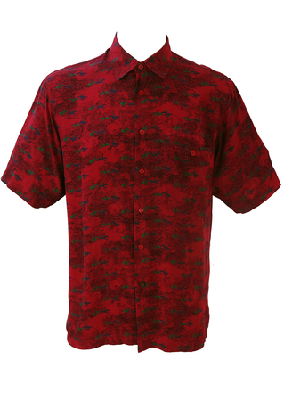 Red Silk Short Sleeve Shirt with Horse & Jockey Print - L/XL