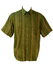 Olive Green Short Sleeve Shirt with Black, Pink & Gold Pattern - L/XL