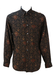 Floral Patterned Long Sleeve Shirt in Brown & Black - M