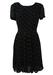 Black Semi Sheer Mini Dress with Cream Square Pattern - M