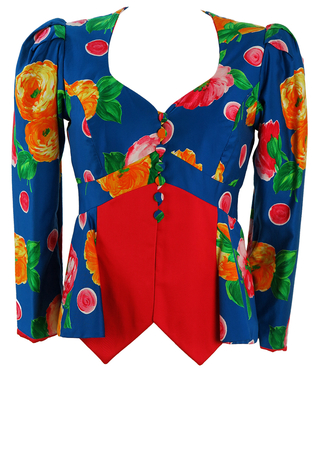 Vibrant Blue, Red & Yellow Floral Patterned Jacket with Peplum Detail - S