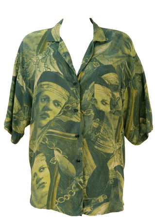 Green & Blue Short Sleeve Blouse with Pictorial Face Print - L