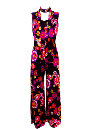 Vintage 1970's Jumpsuit with Vibrant Multicoloured Floral Pattern - S
