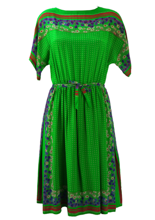 Green Silk Dress with Purple, Red & White Floral Pattern - M