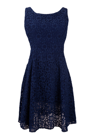 Vintage 1950's Blue Lace Sleeveless Dress - S/M