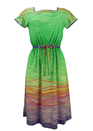 Vintage 1980's Green Dress with Pink & Yellow Stripes - S/M