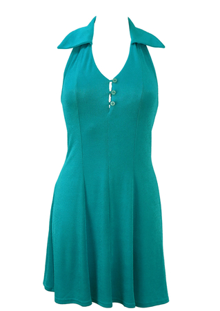 Turquoise Halterneck Stretch Mini Dress - S