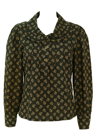 Black & Beige Floral Print Blouse with Frill Collar Detail - S/M