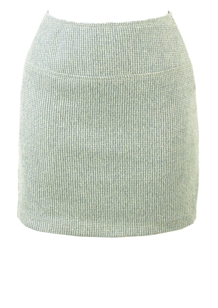 Soft Blue and White Textured Check Mini Skirt - XS