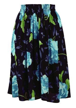 Blue & Green Floral Patterned Knee Length Culottes - S/M