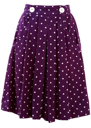 Blue & White Polka Dot Mini Skirt - XS/S