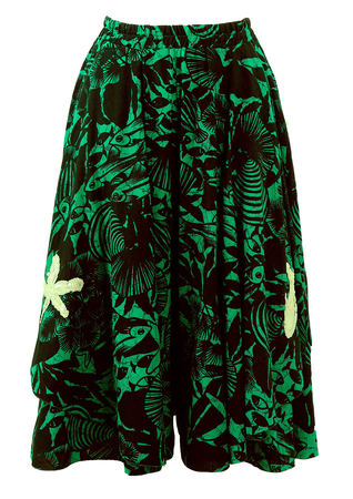 Green & Black Tropical Marine Print Midi Culottes - S/M