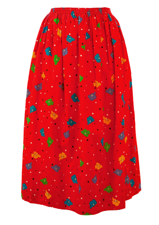 Red Floral & Polka Dot Patterned Midi Length Skirt - S/M