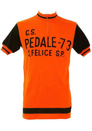 Italian Orange & Black Cycling Jersey Top - M/L