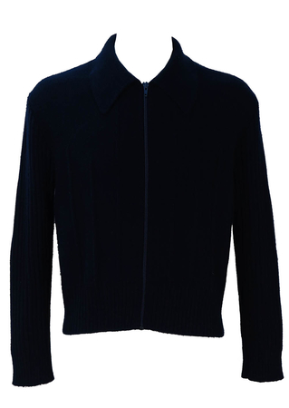 Vintage 1960's Navy Blue Wool Zip Front Cardigan - L