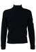 Navy Blue Knit Sports Jumper with White Stripe Sleeve Detail - S