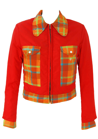 Cropped Jacket in Red with Check Pockets, Cuffs and Collar - XS/S