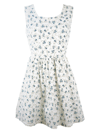 Vintage 1950's Style Mini Dress with Blue & White Ditsy Floral Print - M