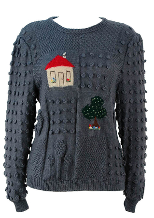 Grey Multi Textured Knit Jumper with House & Tree Motifs- M
