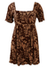 Atos Lombardini Brown Mini Dress with Floral Pattern - S/M