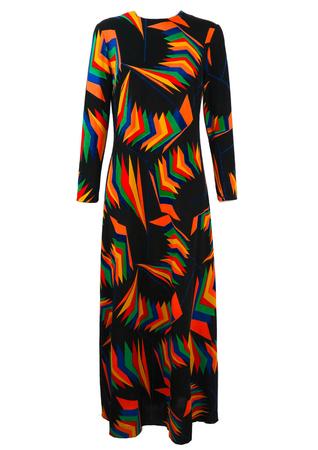 Vintage 1970's Black Maxi Dress with Multicoloured Geometric Pattern - M