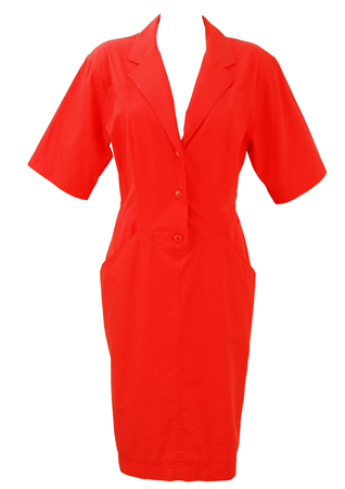 Red Midi Length Button Front Dress - M