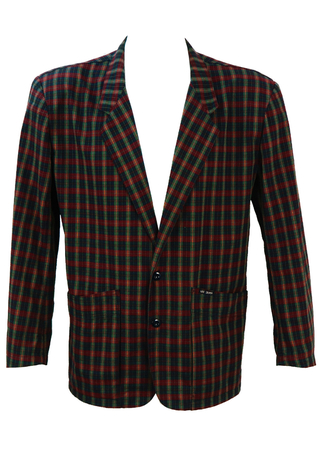 Lightweight Red, Green and Blue Check Jacket - L