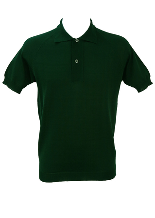 Vintage 1960's Racing Green Fine Knit Polo Shirt - M