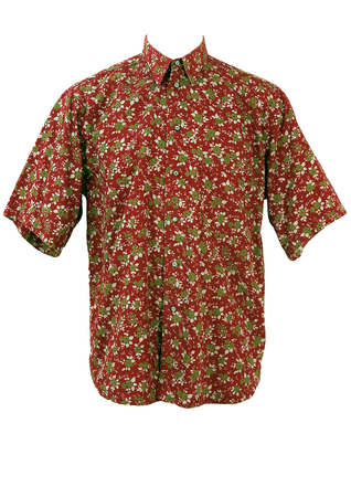 Red Short Sleeve Shirt with Green and Grey Floral Pattern - XL/XXL