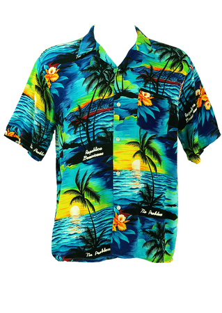 Hawaiian Shirt in Blue, Yellow and Orange Colourway - L