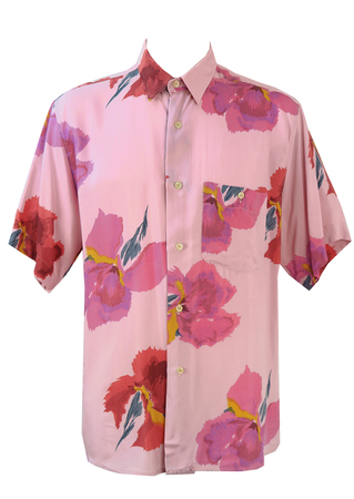 Short Sleeve Shirt with Large Pink & Purple Floral Print - L/XL