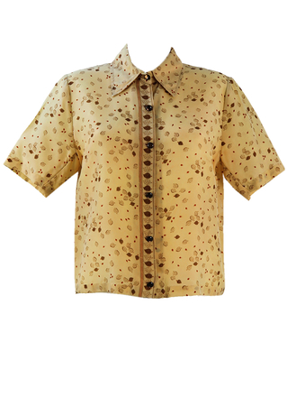 Vintage 1960's Short Sleeved Beige Blouse with Brown Leaf Pattern - L