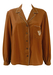 Brown Long Sleeved Blouse with Scalloped Edging & Embroidery Detail - L