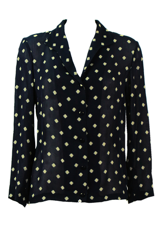 Navy Semi Sheer Blouse with Cream Geometric Pattern - M/L