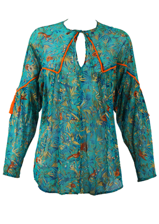 Blue & Metallic Gold Patterned Tunic Top with Orange Tassels - M/L